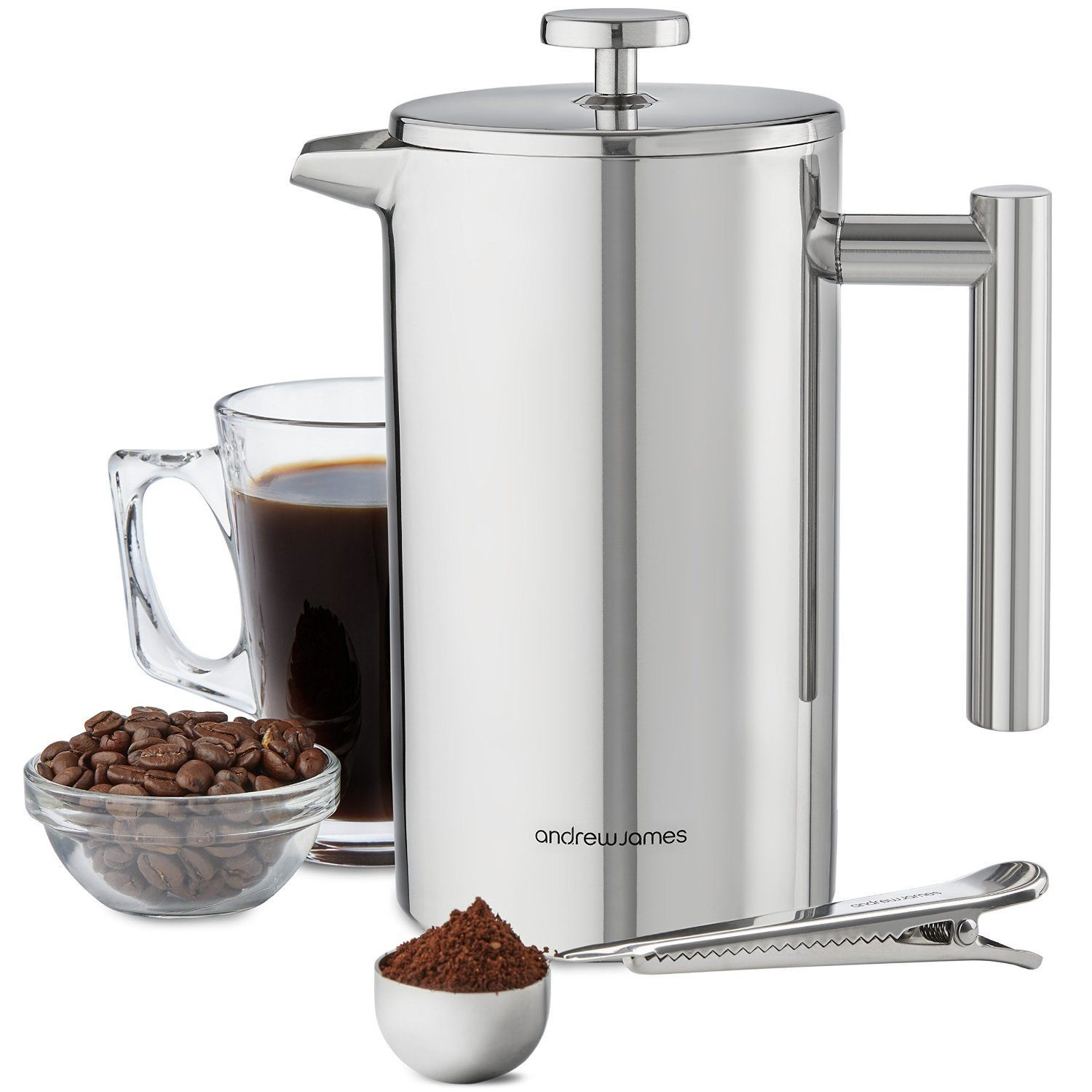 Andrew James 1000ml Double Walled Stainless Steel Cafetiere Gift Set