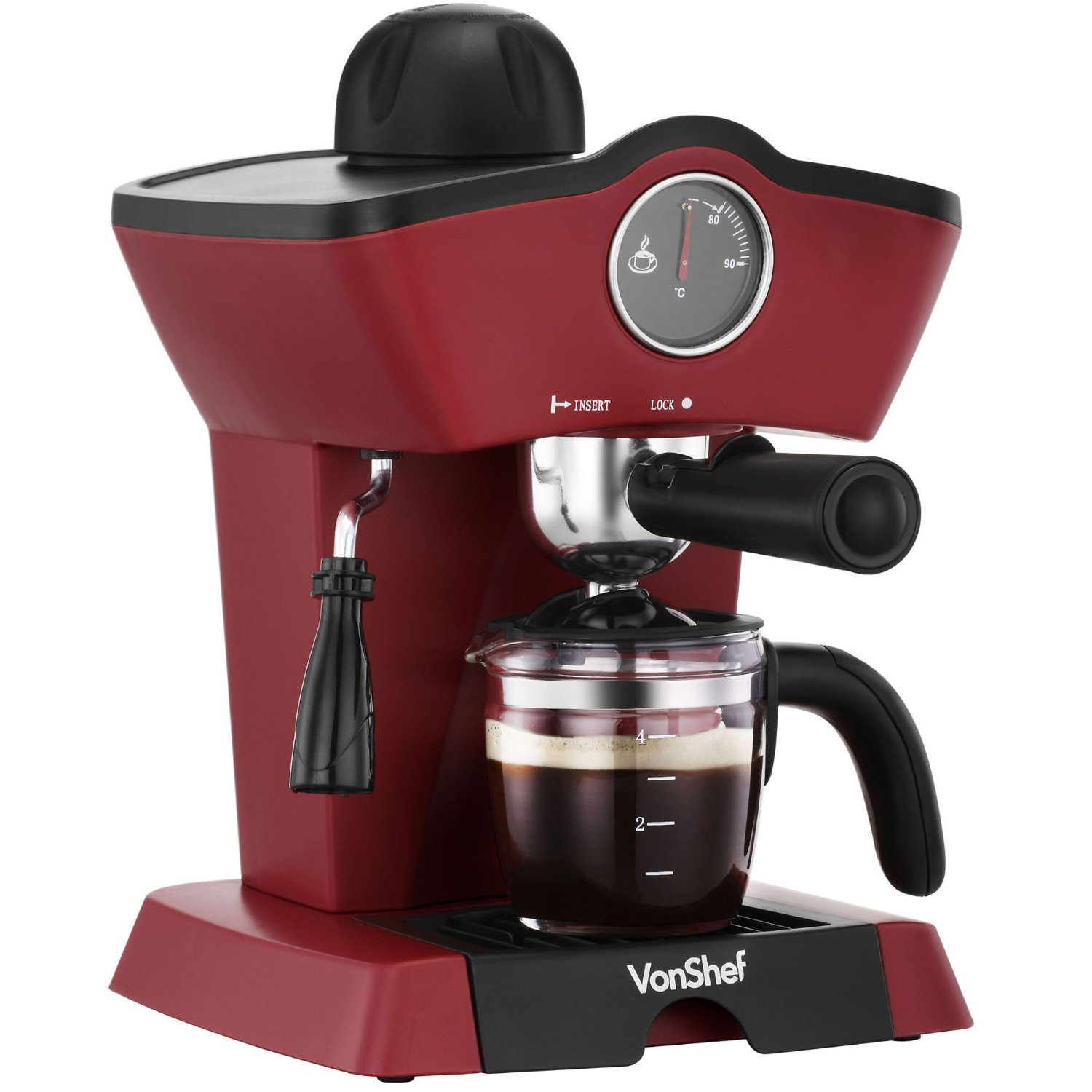 VonShef 4 Bar Espresso Coffee Maker Machine